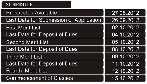 Admissions Schedule - Session (2012-13)