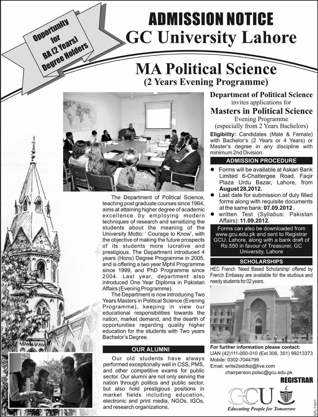 Government College University Lahore MA Political Science Admissions 2012-1