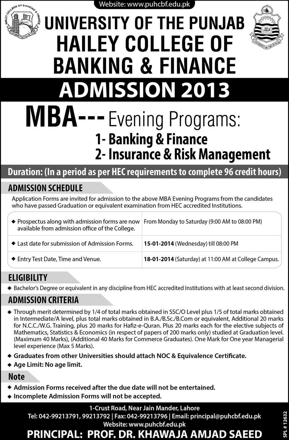 Punjab university Hailey College MBA evening Admission 2014