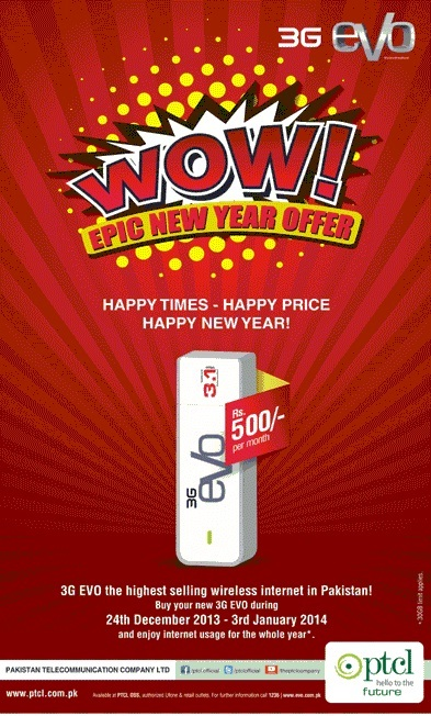 PTCL 3G Evo 3.1 500/Month New Year Package 2014