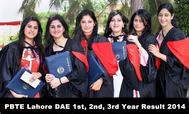 PBTE Lahore DAE 1st, 2nd, 3rd Year Result 2014