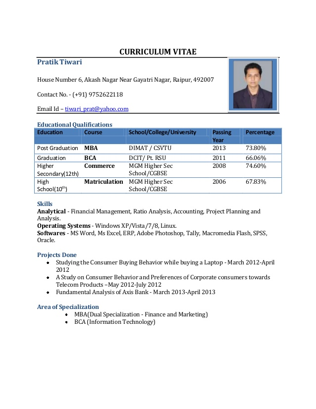 format for resume for freshers