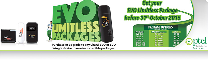 PTCL EVO Limitless Package 2017 For EVO Wingle and Charji