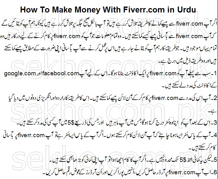 How To Make Money With Fiverr.com in Urdu
