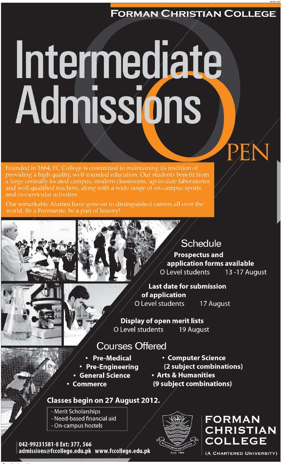 Forman Christian College Intermediate admission 2012
