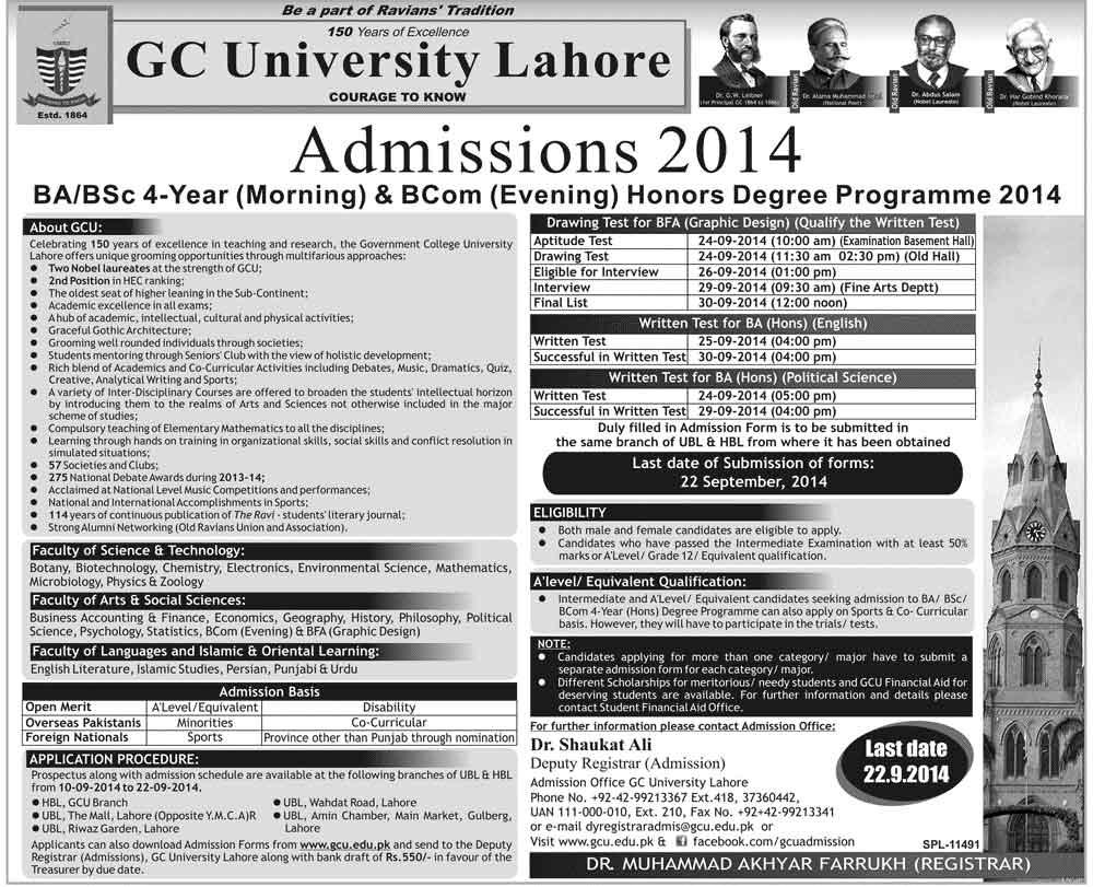 GCU Lahore Admissions 2014 Undergraduate BA/BSC(Hons),B.Com