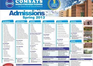 COMSATS Institute Of Information Technology Spring Admissions 2013