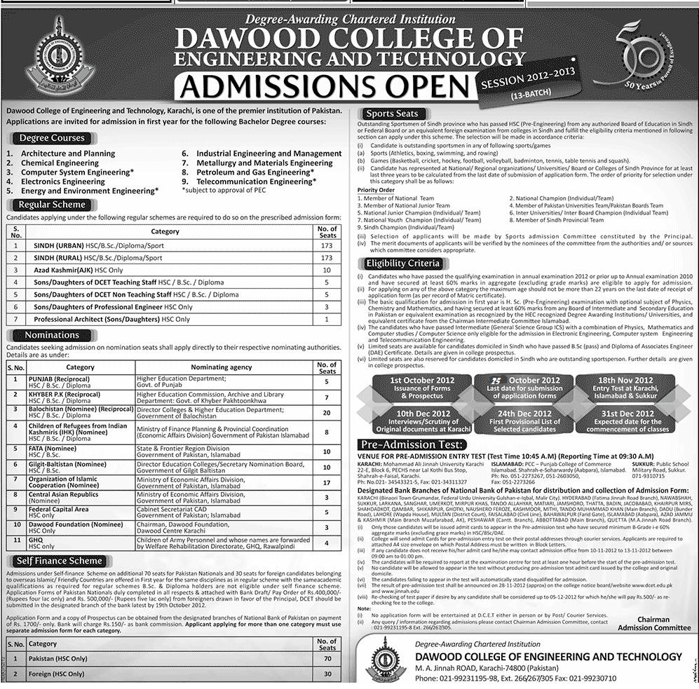 Dawood College of Engineering and Technology Admissions 2013