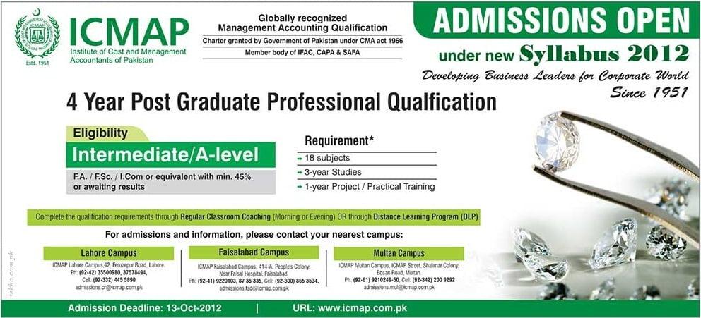 ICMAP Lahore Postgraduate Admissions 2012