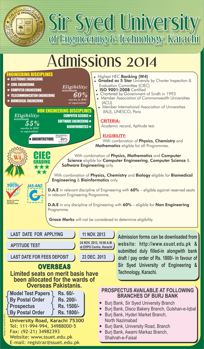 Sir Syed University Of Engineering and Technology Admissions