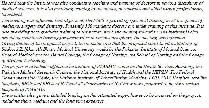 President advises to upgrade PIMS to medical university