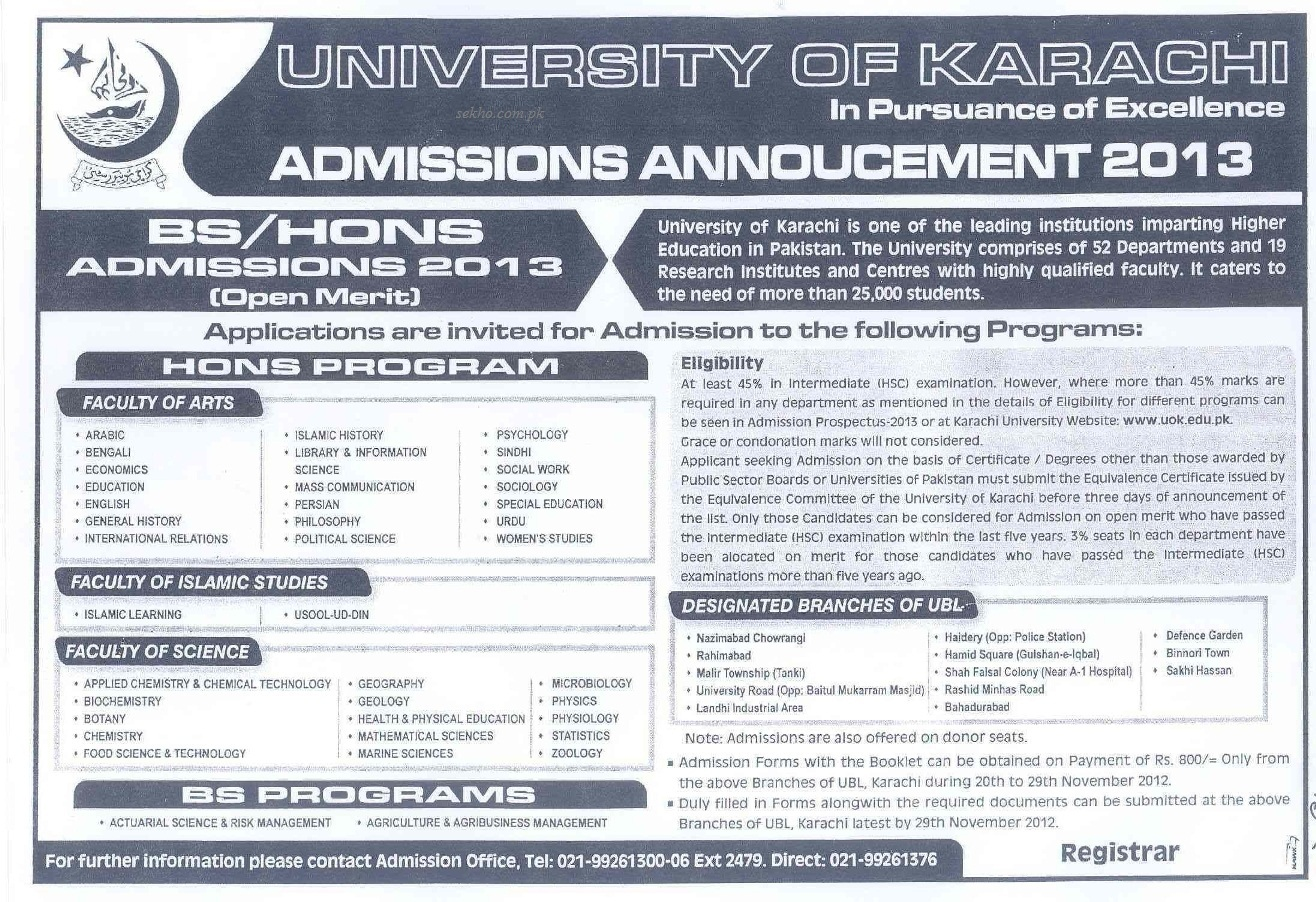 University of Karachi BS Hons Program Admissions 2013