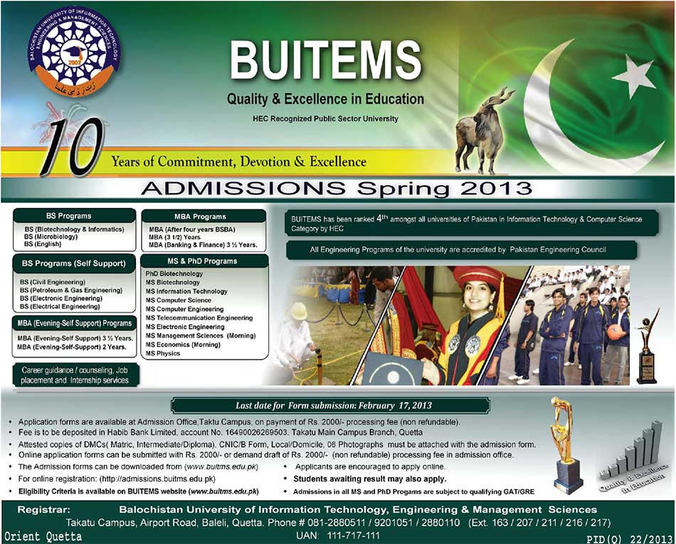 Balochistan University Of Information Technology Admissions Spring 2013