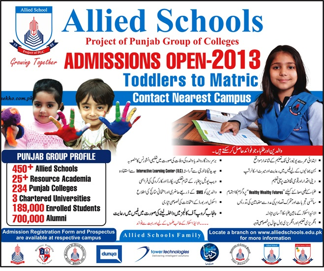 Allied School Admission 2013