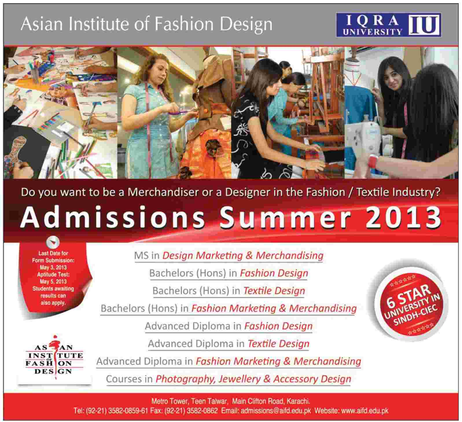 Iqra University Asian Instiitute of Fashion Designing Summer Admissions 2013