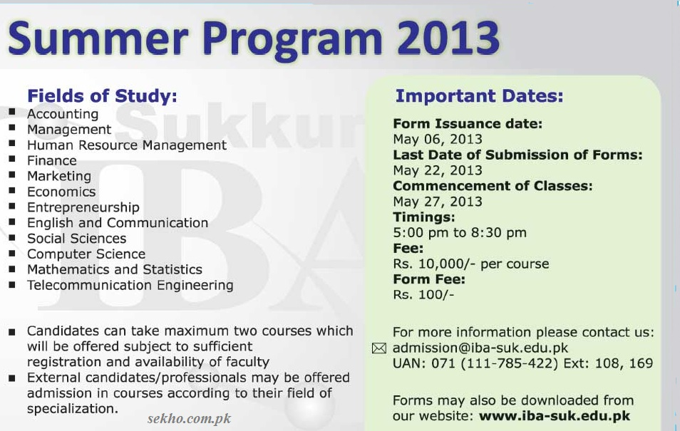 IBA Sukkur Summer Program 2013