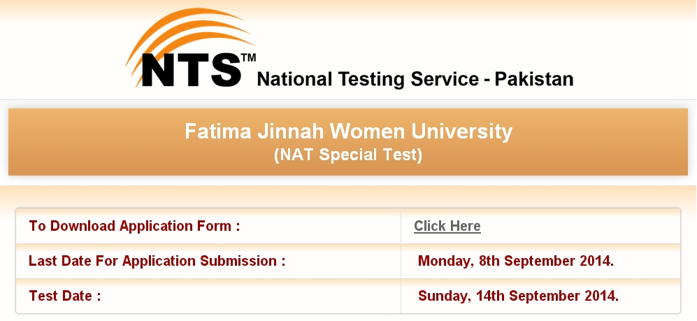 Fatima Jinnah Women University NTS Admission Test 2014