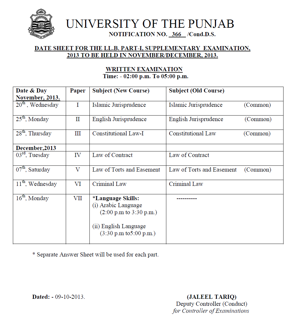 Time of exams is 2:00 PM to 5:00 PM