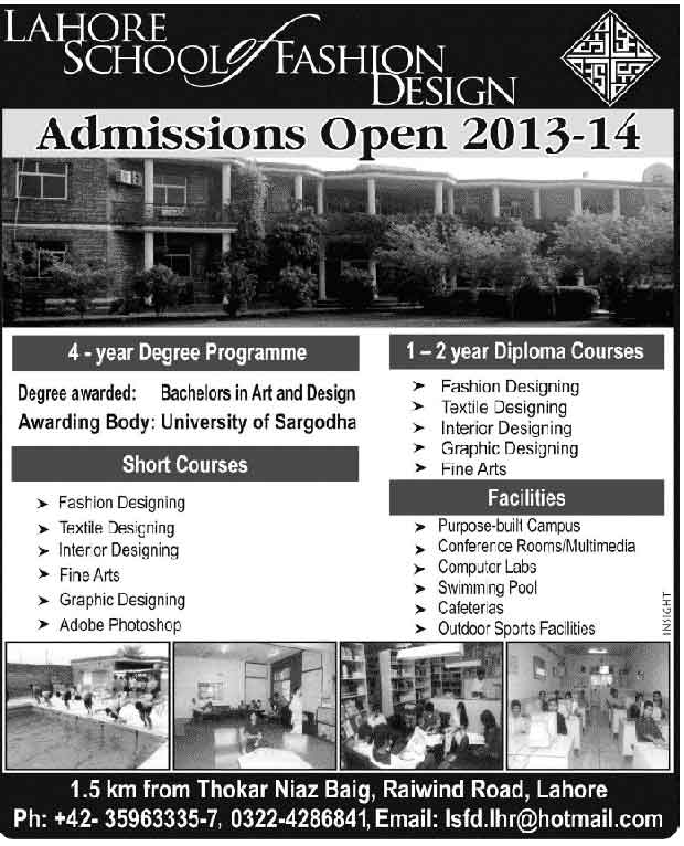 Lahore School of Fashion Design Admissions 2013-14