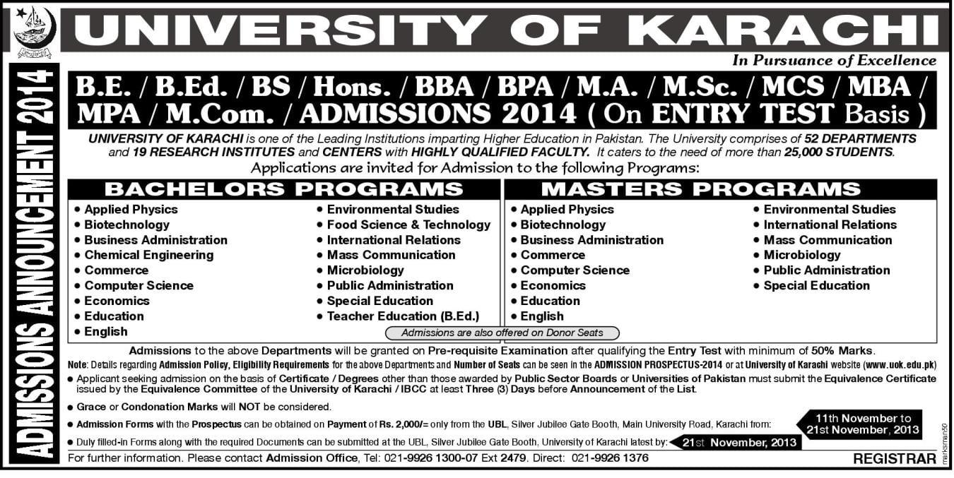 University of Karachi Admission 2015
