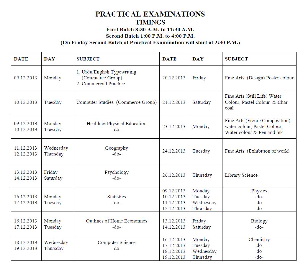 BISE Lahore Intermediate Supplementary Exam 2013