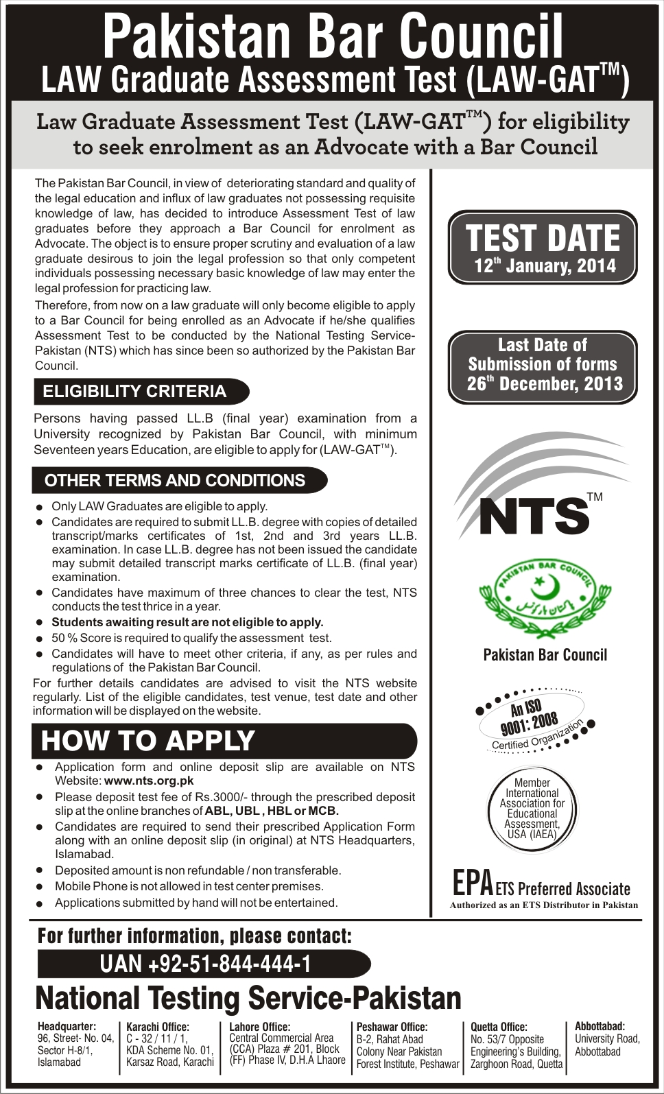 LAW GAT Test Dates, NTS Registration Form And Result 2014