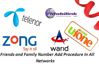 How to add friends and family numbers in warid,jazz,ufone,zong,telenor