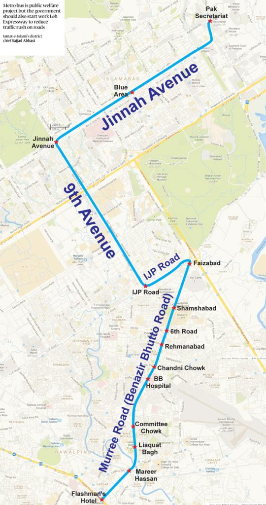 Metrobus Rawalpindi To Islamabad Route Map Final Details