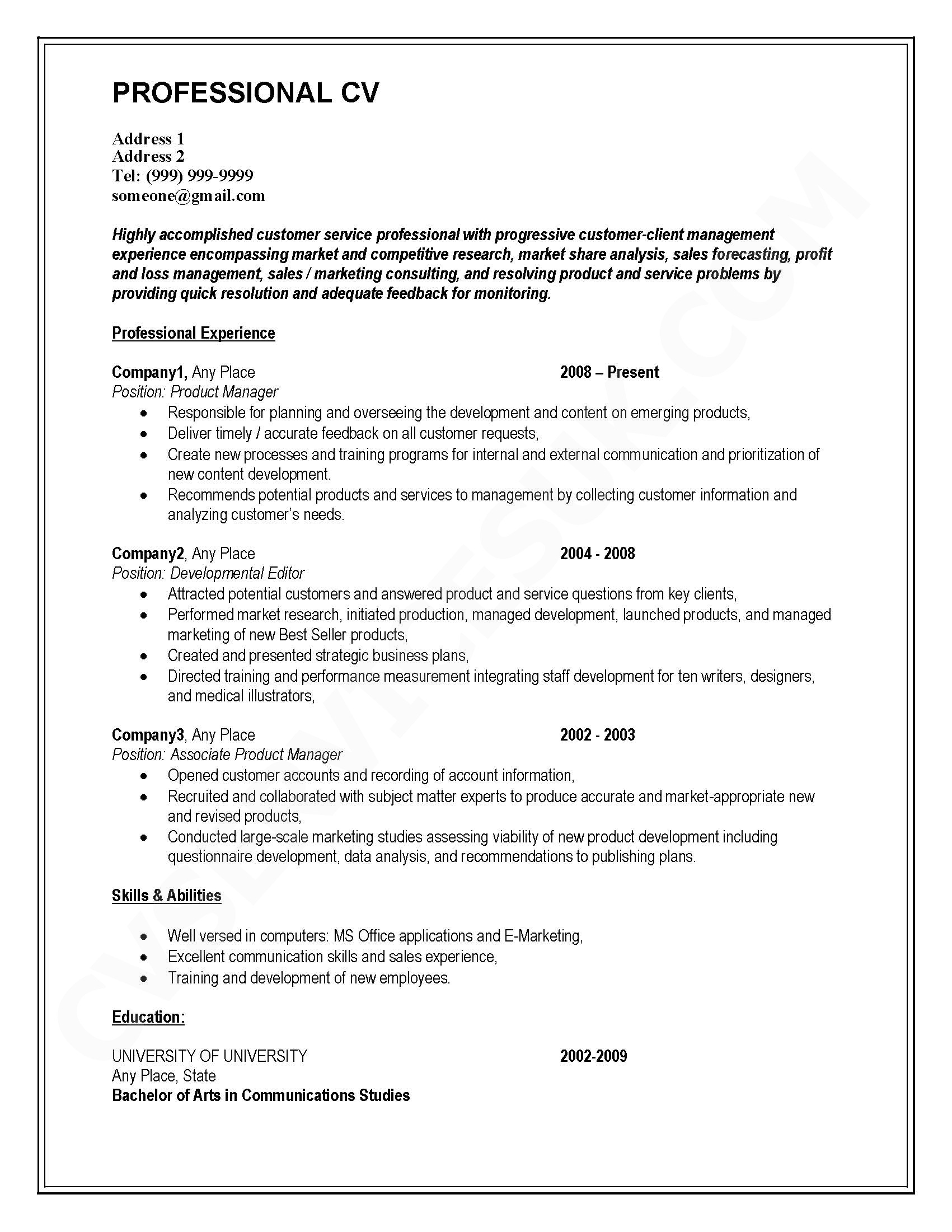 south african cv template download - cv format for matric intermediate