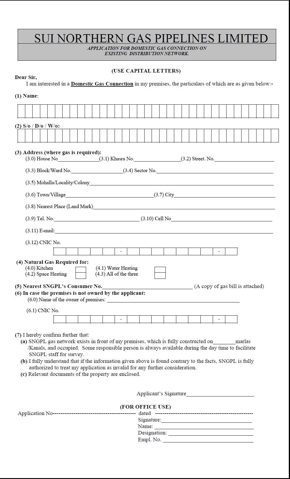 Sui Northern Gas New Connection Application Form