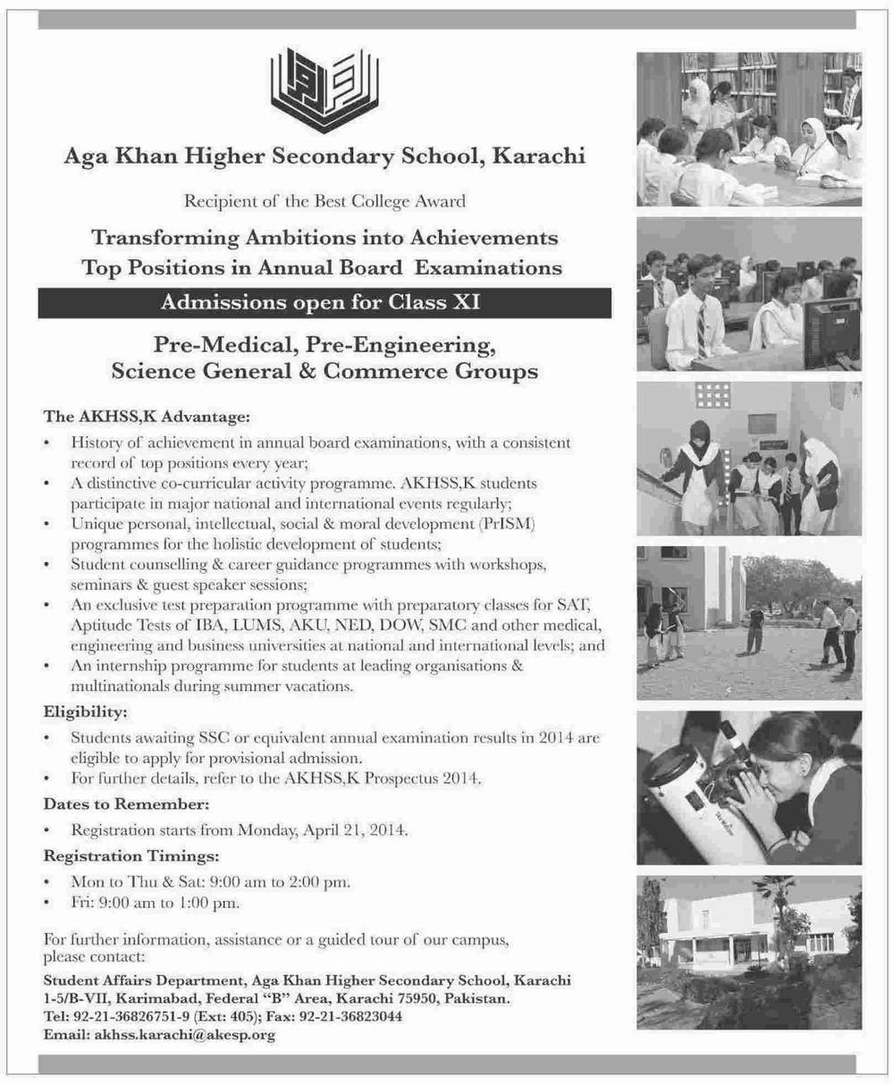 Aga Khan Higher Secondary School AKHSS Karachi Admissions