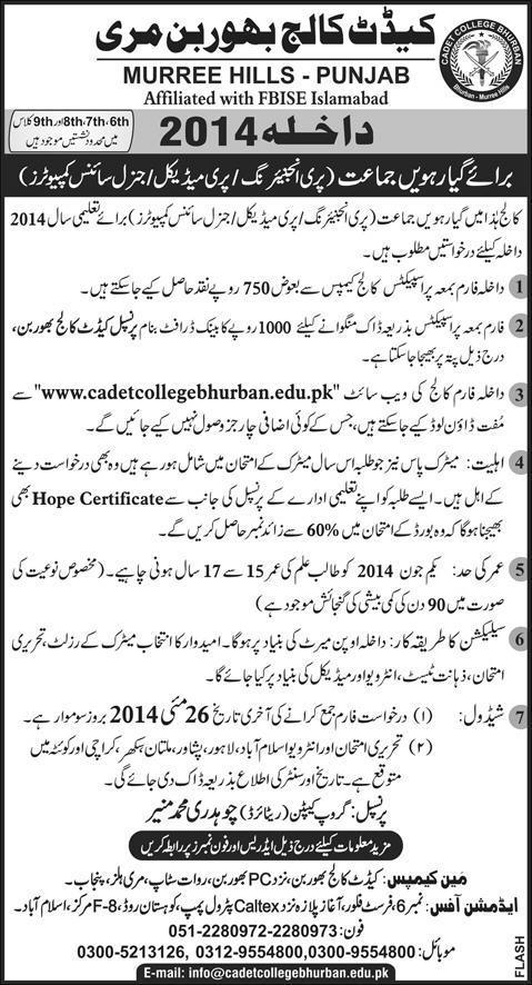 Cadet College Bhurban Admission 2014 Form, Criteria, Entry Test Result