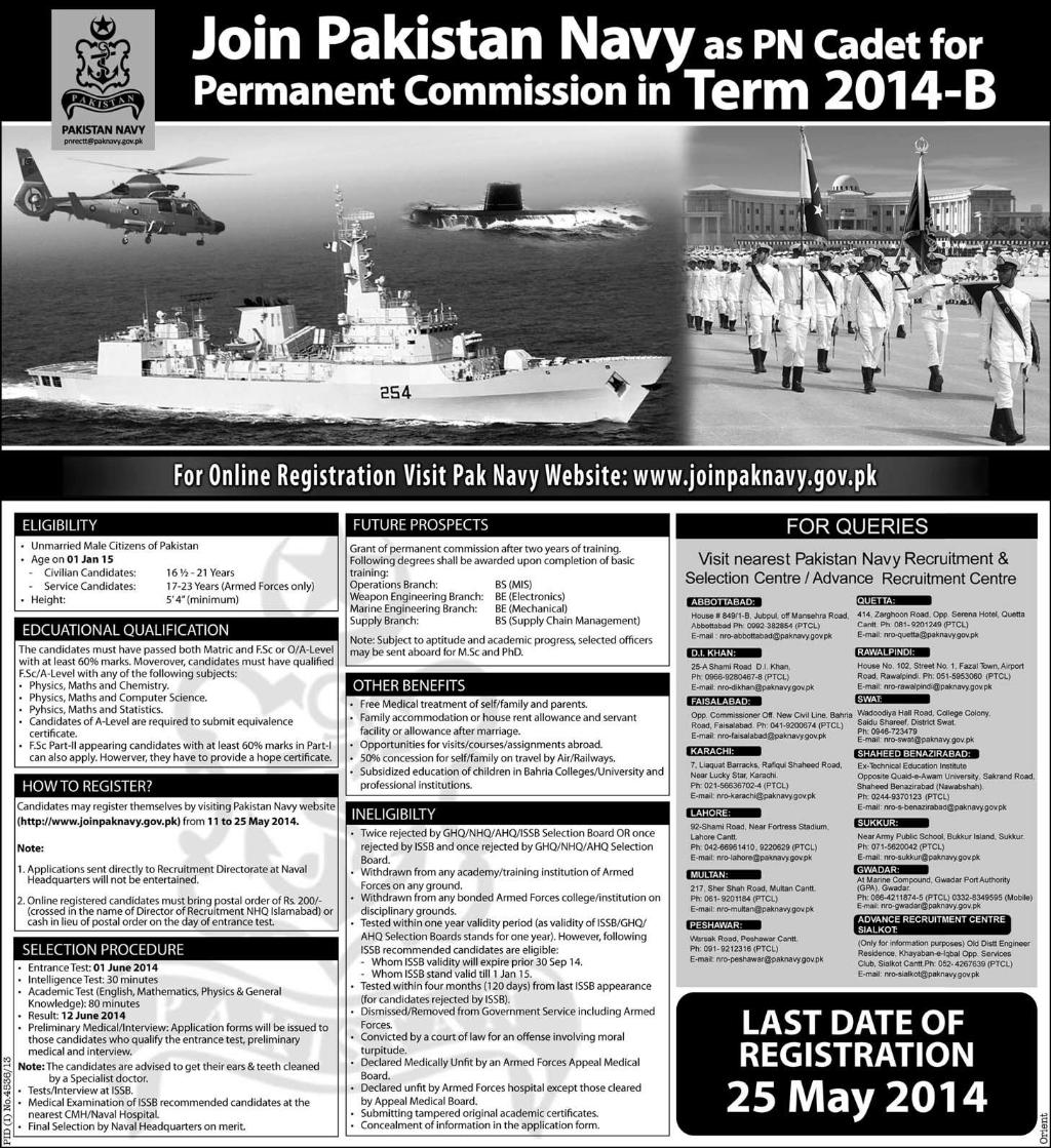Join Pakistan Navy As PN Cadet For Permanent Commission 2014
