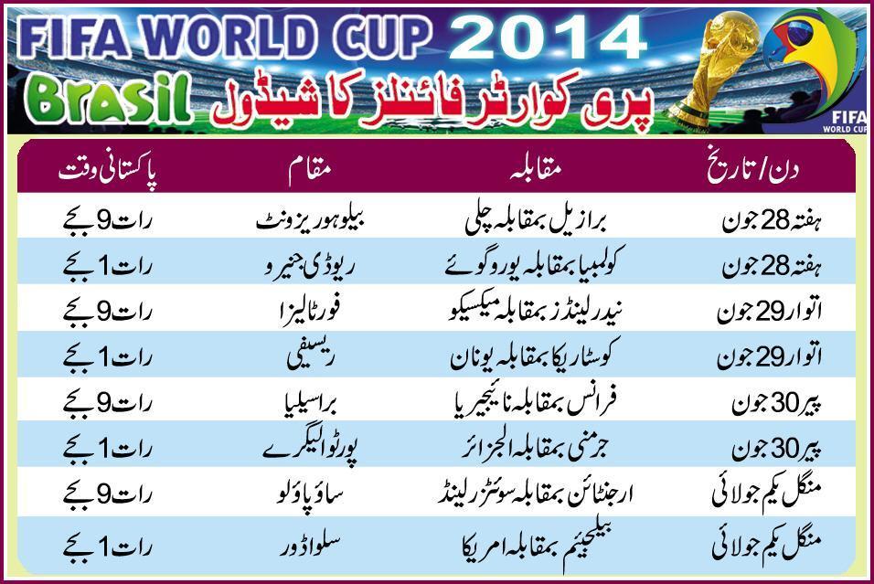 Fifa World Cup Pre Quarter Final Schedule 2014 In Pakistan Timing, Tv Schedules