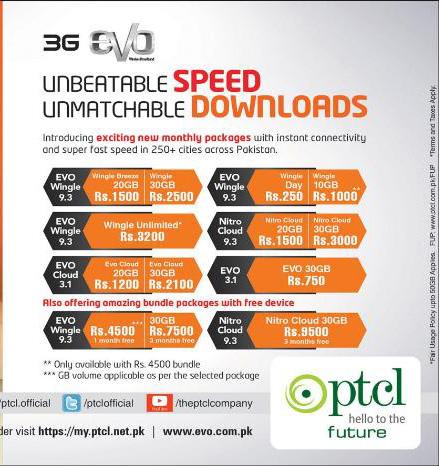 Ptcl 3G EVO Monthly Internet Packages, Bundle Details