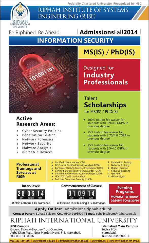 Riphah International University Islamabad MS, PhD Fall Admissions 2014