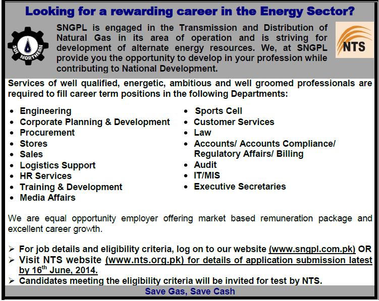 SNGPL Sui Gas jobs NTS Test Date 2014 List Of Candidates - sekho com pk