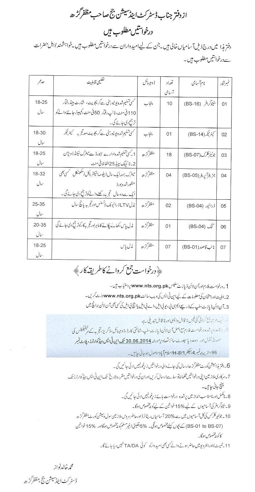 District And Session Court Muzaffargarh Jobs 2014 NTS Form Last Date
