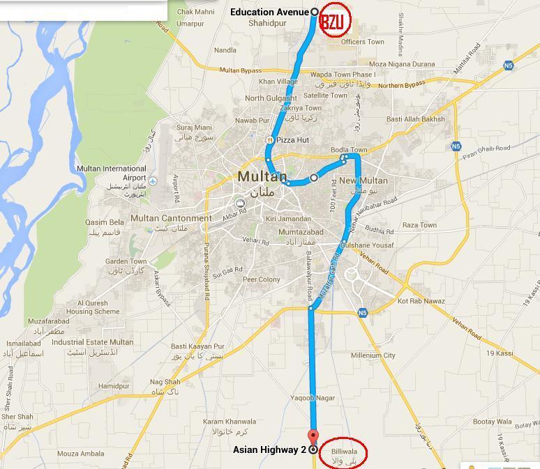 Multan Metro Bus Project Route Map, Stops Final Details Pictures