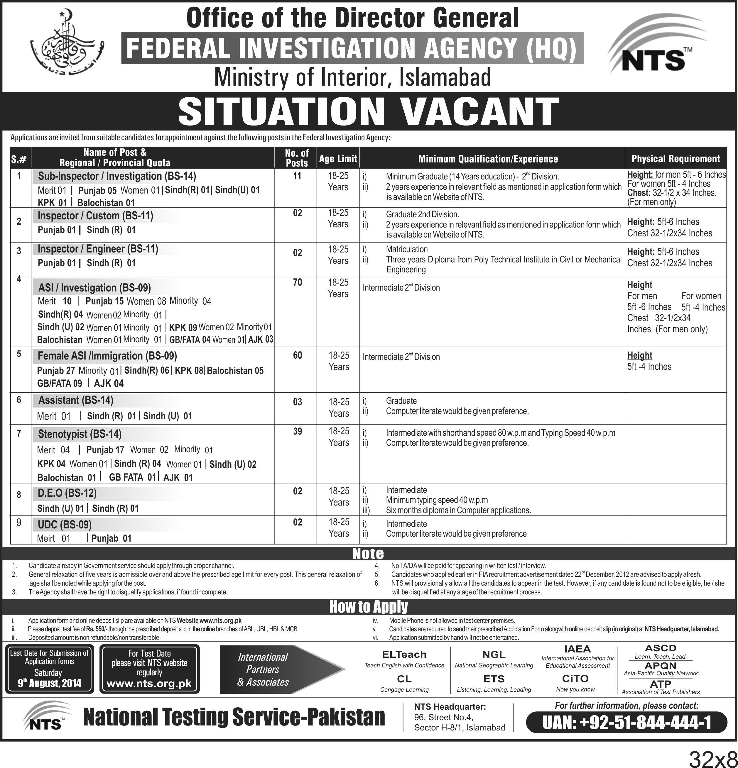 FIA Inspector, ASI, Sub Inspector, Assistant Jobs 2014 Form