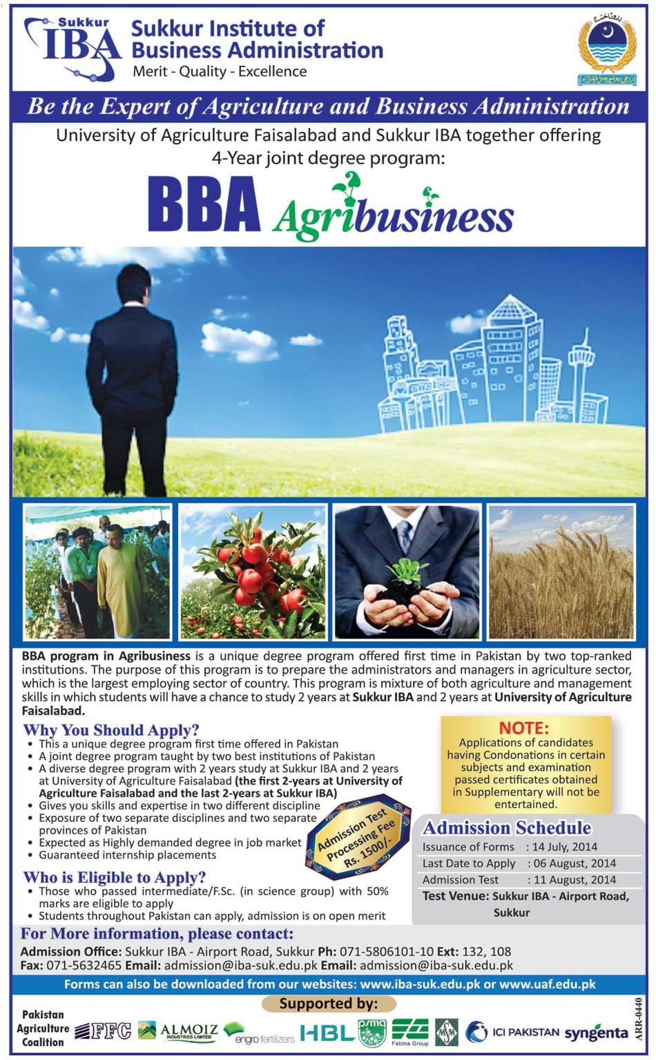 IBA Sukkur BBA Agribusiness Admission 2014 Form, Last Date
