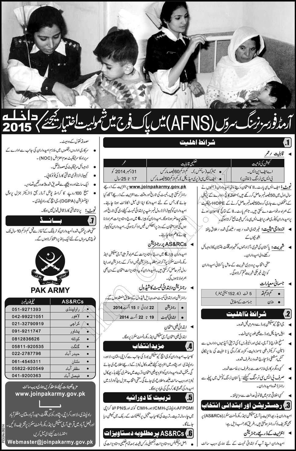 Join Pak Army As Armed Forces Nursing Services AFNS 2015 Eligibility