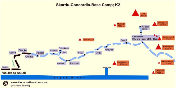 K2 Base Camp Trek Map In Pakistan Tour Guide