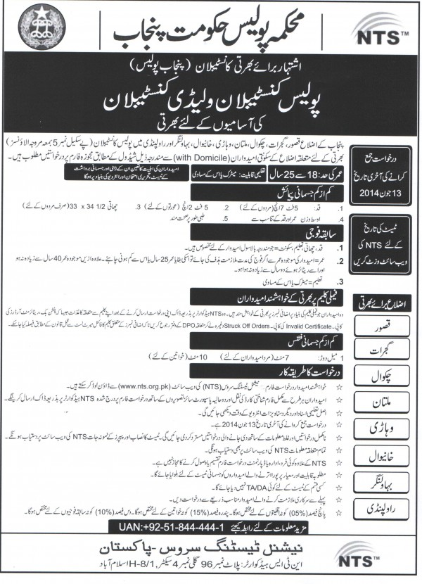 Punjab Police Constable / Lady Constable jobs NTS Test Date, Roll No