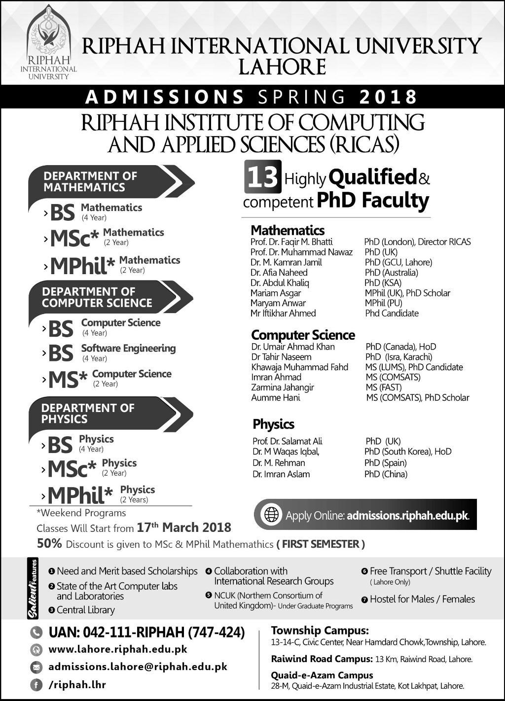 Riphah International University Lahore Campus Admissions 2018