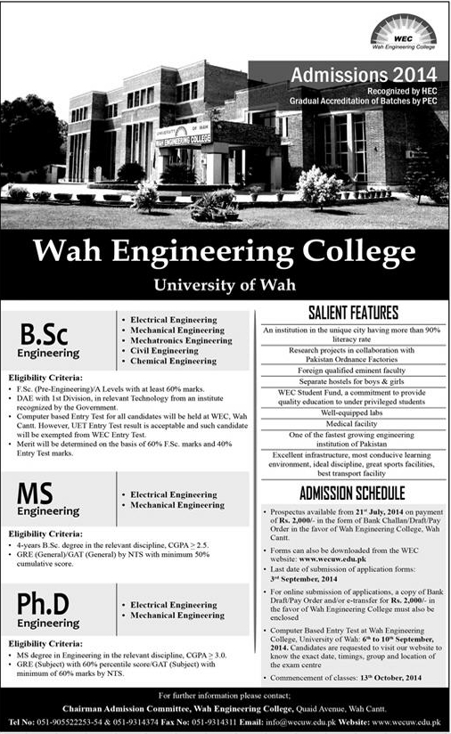 University of Wah BSc, MS Engineering Fall Admission 2021