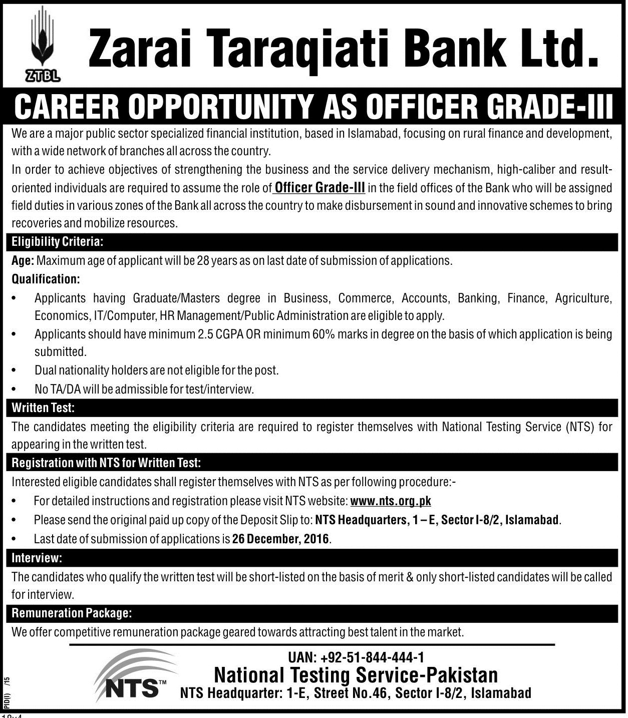 ZTBL Jobs 2016 Officer Grade III Nts Form Online Download