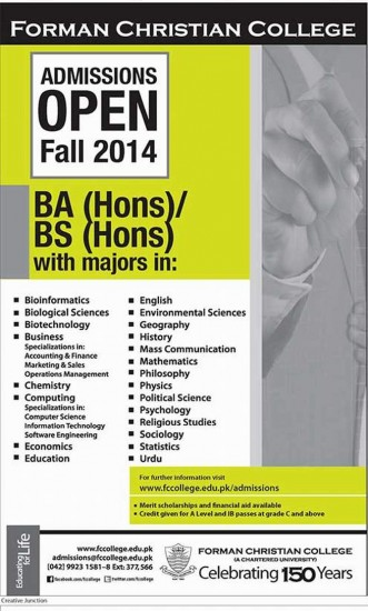 Forman Christian College Admissions 2014 BA/BSC