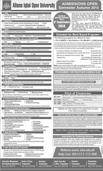 AIOU Autumn Admission Online Form, Last Date, Schedule, Fee Structure