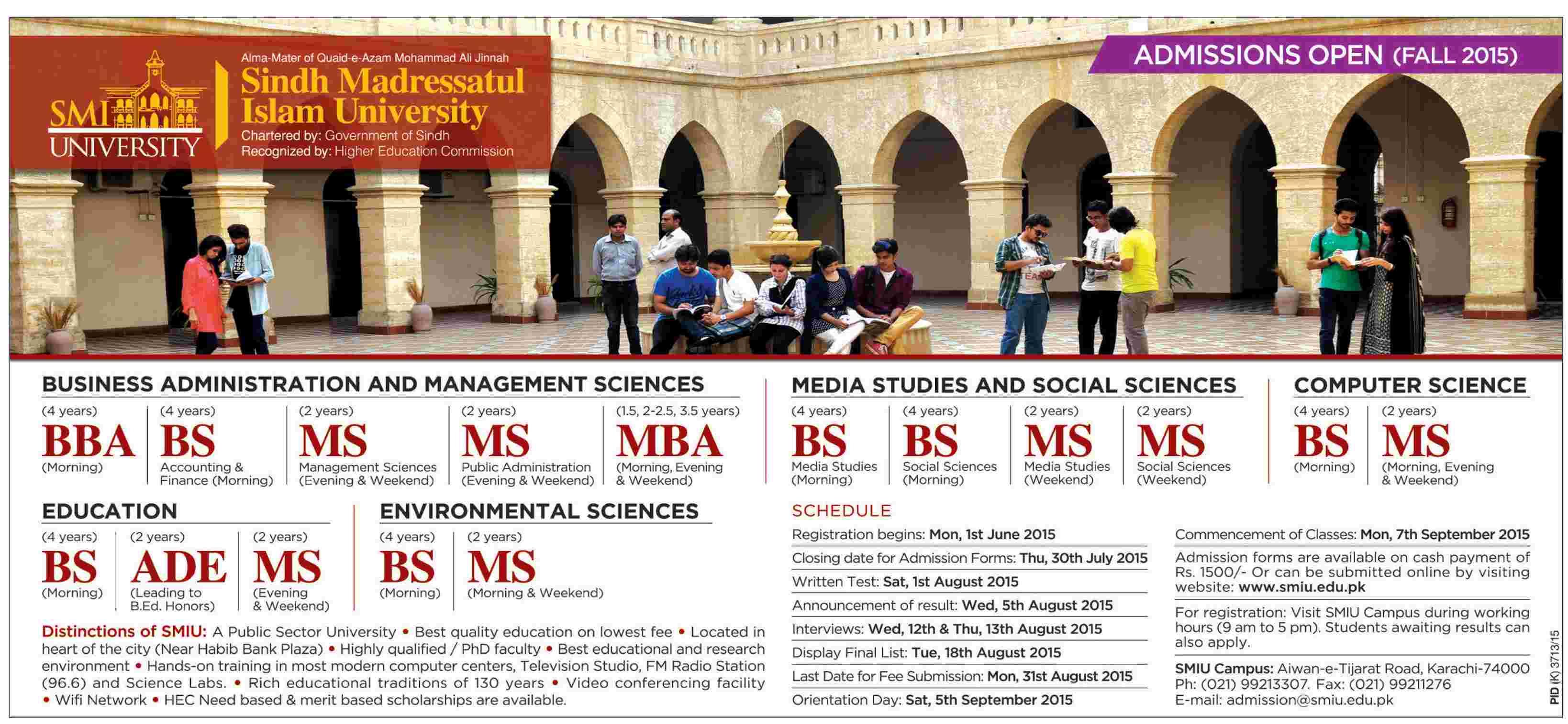 indh Madressatul Islam SMI University Fall Admission 2015 Form, Criteriaindh Madressatul Islam SMI University Fall Admission 2015 Form, Criteria